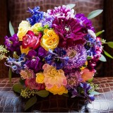 Bridal Bouquet Purple Yellow Orange