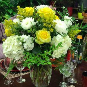 hydrangea and roses tall